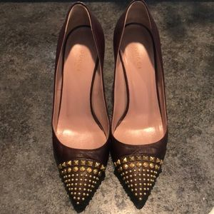 Gucci oxblood studded pumps